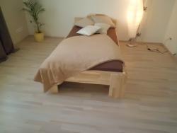 Massivholz-Einzelbett 90x200cm 27mm Kerneschenleimholz
